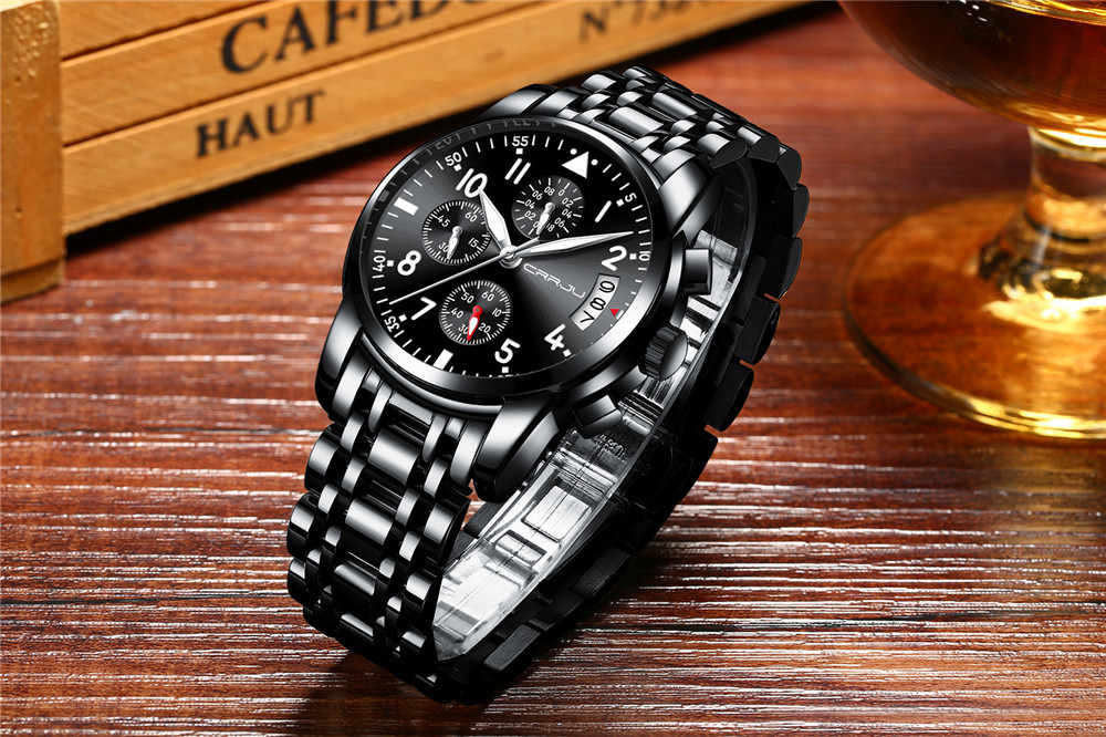 9e4449adbde ... CRRJU Sport Watch Men Stainless Steel Band Quartz Military Casual  Watches Men s Chronograph Calendar Wristwatch Waterproof ...