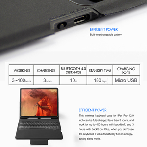 """Image 5 - 5.1 Bluetooth Keyboard Case For iPad pro 12.9"""" 2018, All in one Wireless  Keyboard with 7 Color Backlit+Premium Leather Case"""