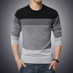 2019 Spring Autumn Casual Men's Sweater O-Neck Striped Slim