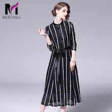 Merchall New 2018 Summer Spring Fashion Women Lace Embroidery Bohemian Runway Dress Long Mid-calf Beach Party