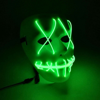 Horror Halloween   mask   ghost PVC Slit mouth light up glowing LED Horror Fashion Cosplay   mask   Costume   mask   for   party   Masquerade