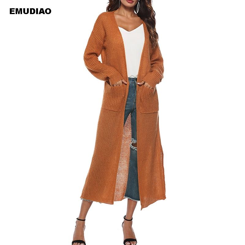 Вязаный свитер длинный женский кардиган рукав Свободный вязаный кардиган женский пиджак 2019 осень зима мода Pull Femme