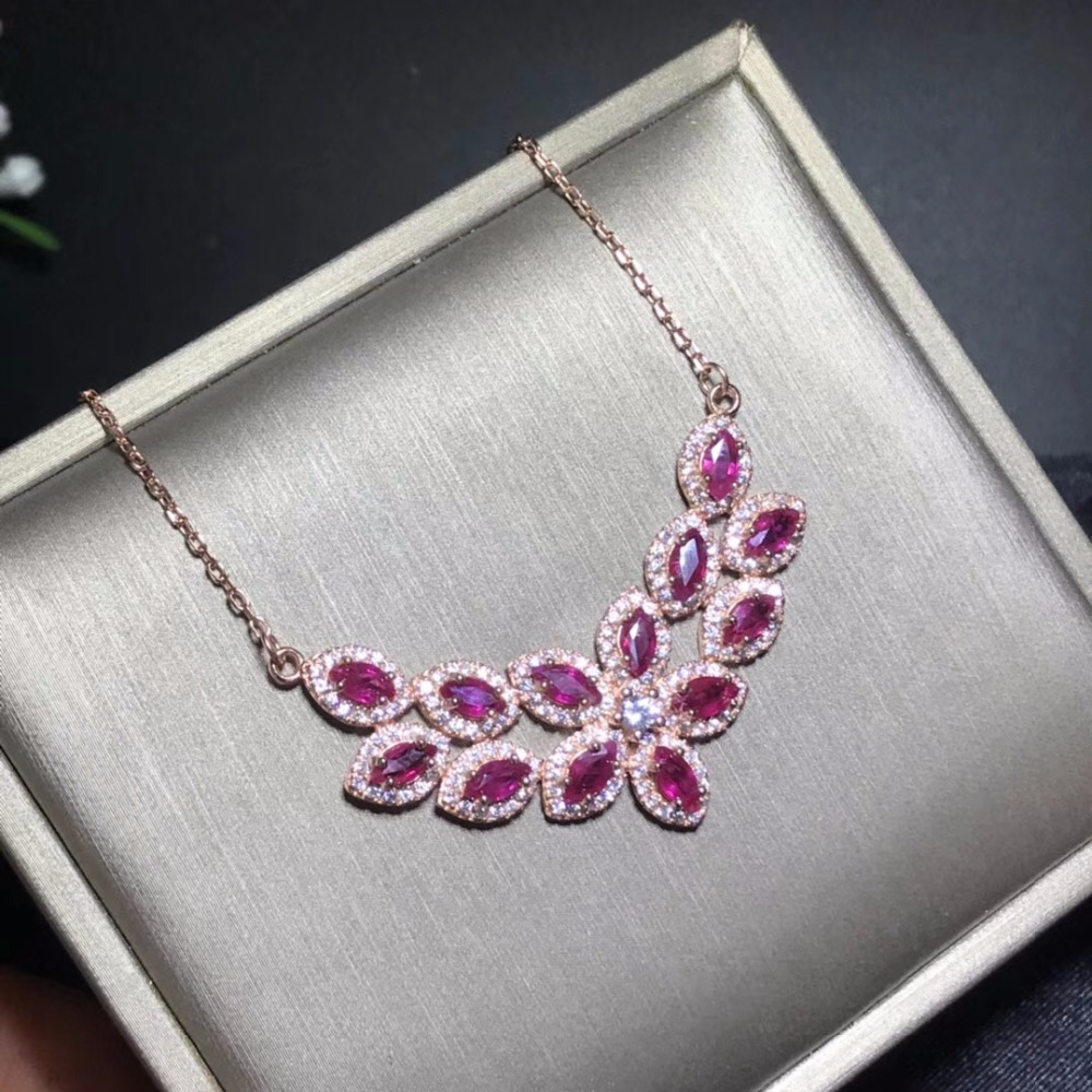 Uloveido Women Natural Garnet Gemstone Pendant Necklace Women 925 Sterling Silver Anniversary Red Necklace Pendant FN272