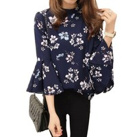 Autumn Floral Print Chiffon Blouse Women Tops Flare Sleeve Shirts Ladies Office Fashion Blusas Chemise Femme