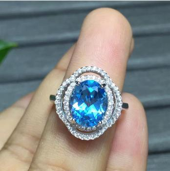Free shipping Natural blue topaz ring 925 sterling silver Wholesales Fine jewelry  8*10mm gem