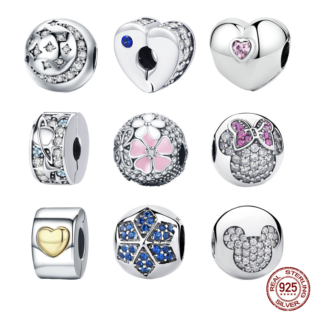 BISAER 925 Sterling Silver Clip Heart Snowflake Tree Daun Cherry Flower Bead Stopper Fit Charm Gelang Perak 925 Jewelry