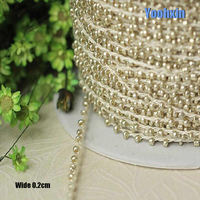 0.2CM Wide HOT Gold beads Embroidery flower lace fabric trim ribbon DIY sewing applique collar cord dress wedding guipure decor