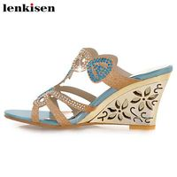 Lenkisen ethnic style big size pu crystals beading wedges high heels mules sexy vocation fairy women fashion sandals shoes L29