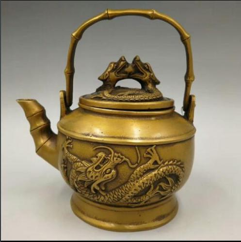 Chinese Handmade Carved Antique Double Dragon Flagon Copper Teapot Kettle