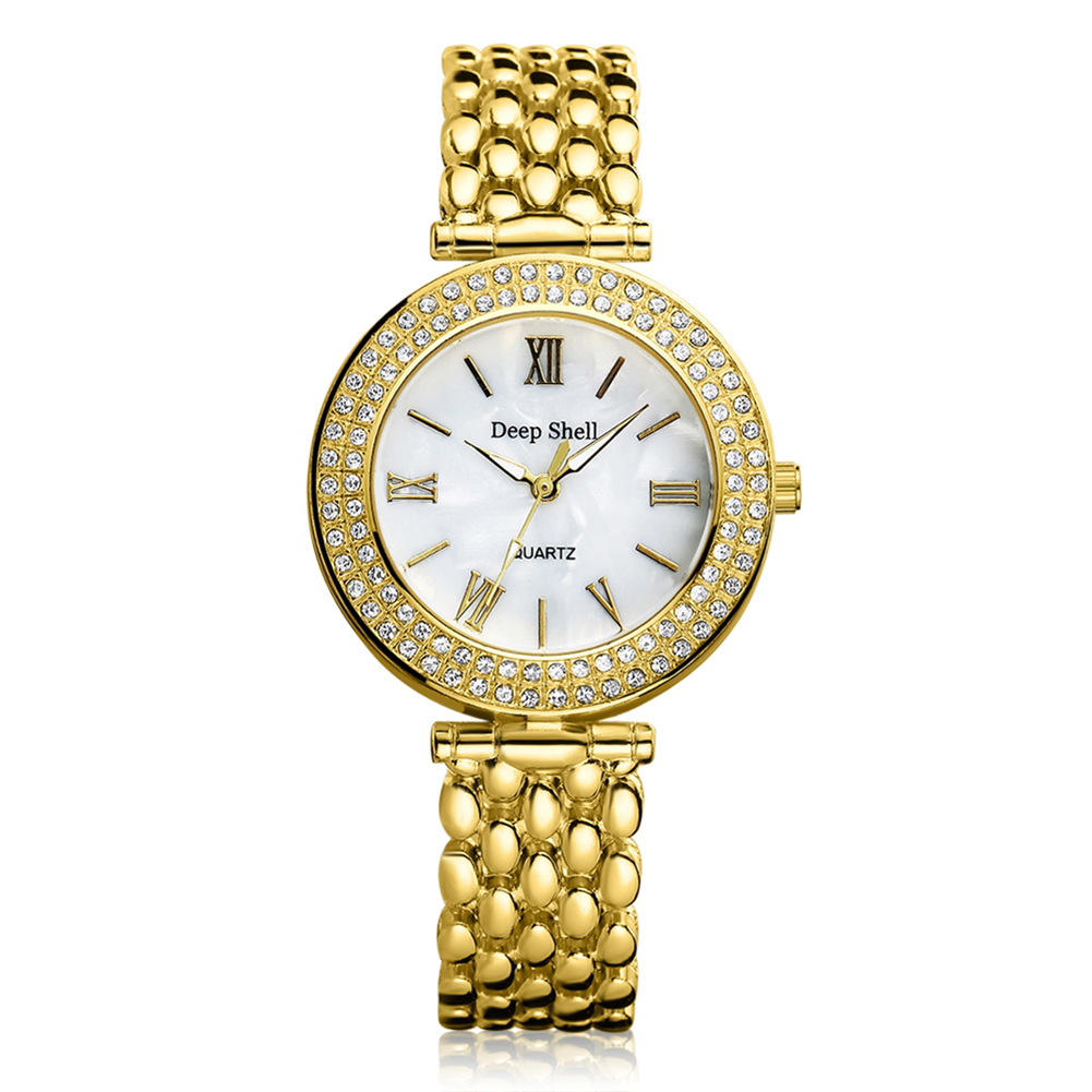 Top Luxury Gold Silver Märke Stainless Steel Quartz Watch Metal Kvinnor Mode Casual Ladies Rhinestones Armbandsur Klocka