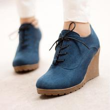 2016 New Wedges Boots Fashion Flock Women's High-heeled Platform Ankle Boots Lace Up High Heels Spring Autumn Shoes For Women
