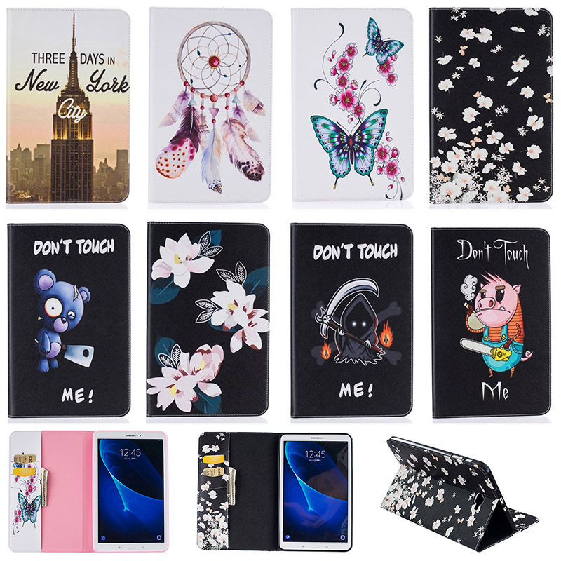 For Samsung Galaxy Tab A 10.1 (2016) T580 Case Butterfly Flower Tower Pig Pattern PU Leather Tablet Cover with Card Holder Funda kcchstar 18k gold plating zinc alloy v necklace w artificial diamond pendant golden