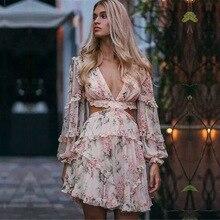 Women's Hollow Out Ruffles Floral Print Chiffon Mini Dress Fashion Pink Runway Dress Sexy Backless Deep V neck Dress