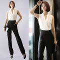 2017 new V-neck body jumpsuit women black white sexy club jumpsuit women overalls one piece pants rompers womens jumpsuit