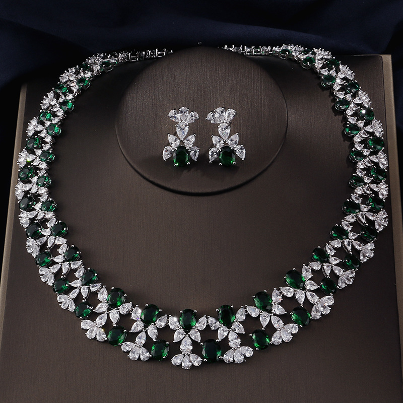 Fashion Necklace Earrings Europe And The United States New Classic Ladies Zircon Set Chain Fashion Wedding Accessories Set europe and the united states green paint flower pearl necklace bracelet brooch earrings for women jewelry