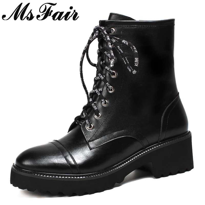 MSFAIR Women Boots Genuine Leather Lace Up Zipper Ankle Boots Women Shoes Round Toe Square heel Med Heel Boot Shoes For Woman 2018 western boots women chain square heel brown ankle boots lace up rivet fleeces round toe punk shoe med heel autumn winter