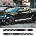 2 шт.  Длинные полосатые наклейки для автомобиля 220 см x 16 см  автомобильные боковые юбки  сделай сам  наклейки для автомобиля  гоночный спорти...