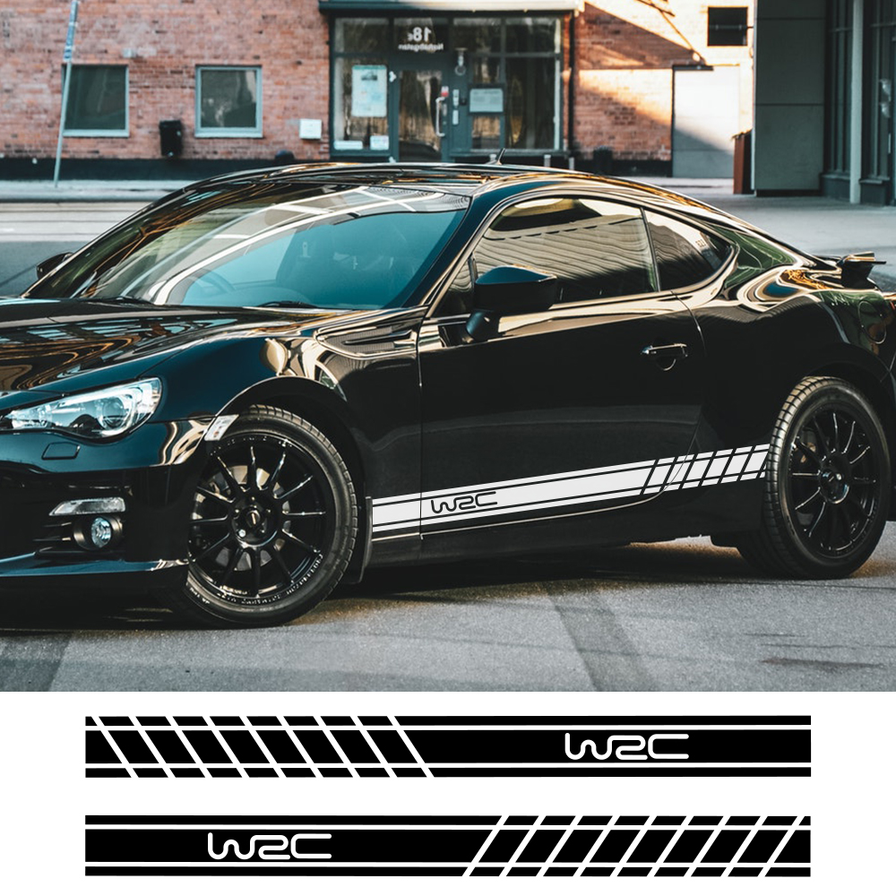 2pcs 220cmx16cm Car Long Stripe Stickers Auto Side Skirts DIY Decals Car Racing Sports Styling Stickers Car Tuning Accessories
