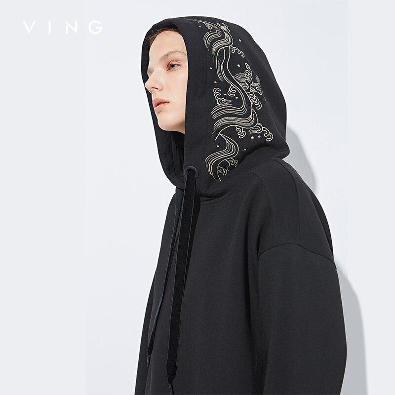 Винг длинные толстовка с капюшоном Для женщин 2018 осень зима флис теплый спортивный костюм с длинным рукавом вышивка пот повседневные толст