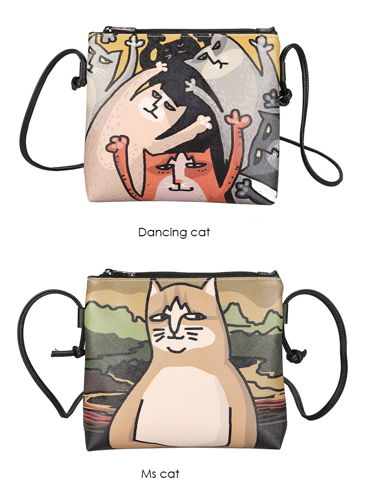 Menghuo 2017 Women Envelope Shoulder Clutch Bag Quality PU Cartoon Cat Printing Small Female Message Purse for Teenagers Girls (27)
