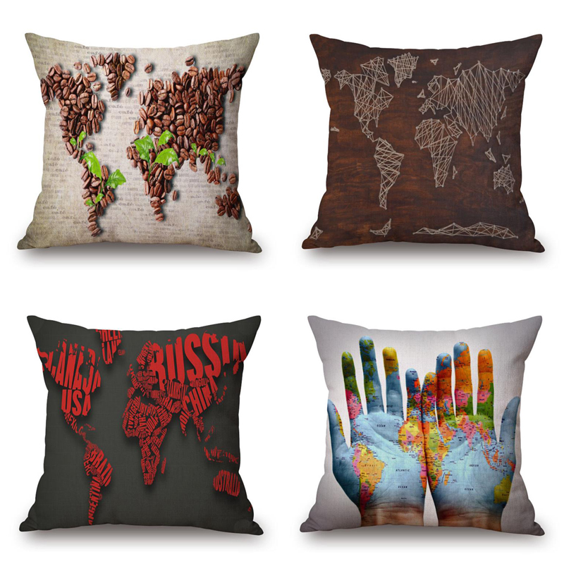 Coffee Beans World Map Cushion Cover Digital Map Cushion Cover Square Support Creative Hand-Painted Pillow Cover Wedding Pillows