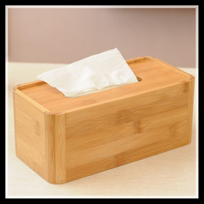 ElimElim High Quality Natural Solid Bamboo Napkin Holder Tissue Box Cover Decorated Tissue Boxes