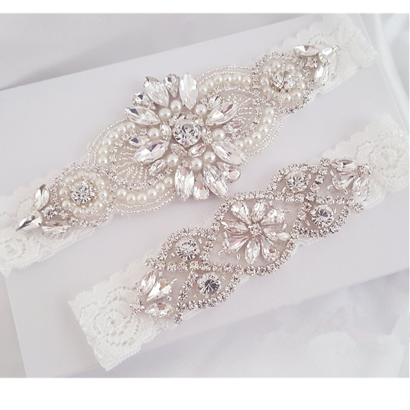 Wedding Garter Set Bridal Garter Set Lace Garter Set Crystal Rhinestone Pearl Bridal Garter