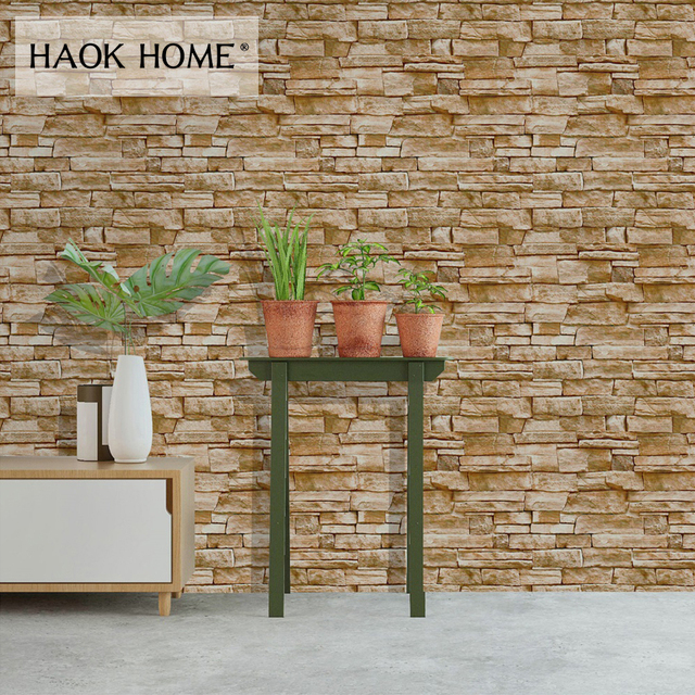 Haokhome 3d Stacked Stone Wallpaper Brick Self Adhesive Vintage Peel