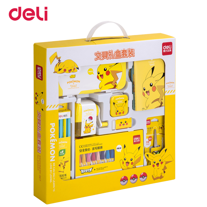 Deli Kawaii Pokemon 8pcs School Kit Pikachu Creative Student Gift Set Child Prize Stationery Set Drawing writing pens notebookDeli Kawaii Pokemon 8pcs School Kit Pikachu Creative Student Gift Set Child Prize Stationery Set Drawing writing pens notebook