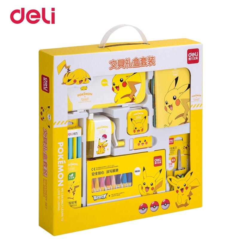 Deli Kawaii Pokemon 8 pièces Kit Scolaire Pikachu Créative Étudiant coffret cadeau Prix Des Enfants ensemble de papeterie Dessin stylos portable