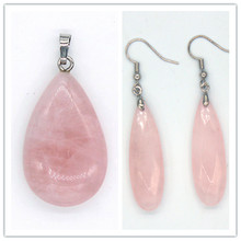 Kraft-beads Silver Plated Natural Rose Pink Quartz Pendant Water Drop Earrings For Anniversary Jewelry Sets цена
