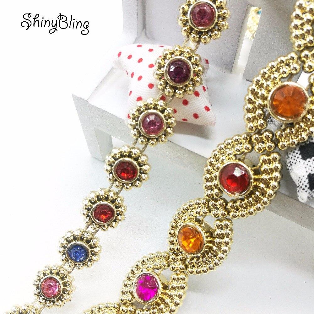 Strass Flower Diamond Bling Crystal Ribbon Wrap Trim DIY