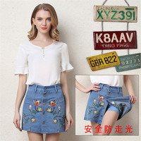 2018 New Plus Size European Women's Embroidery Denim Jeans Shorts Skirt With Buckle Fashion Mini Jeans High Waist Short Pants