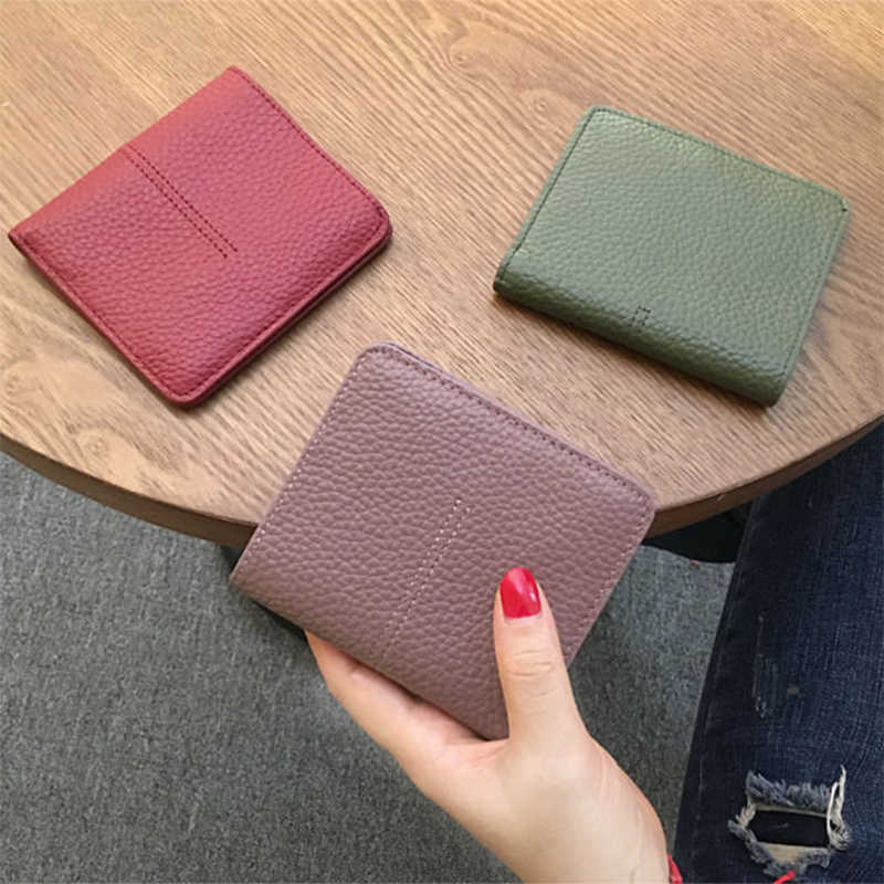 Genuine Leather Short Women Wallet 2018 Fashion Coin Purse Women Short Wallet Multifunction Solid 2 Fold Type Card Holder Purse