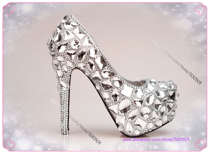 ee1ccfe50f0 womens shoes size 11 Handmade Silver High Heel Pumps wide width bridal shoes  5.5 inches heels silver platform shoes -in Women s Pumps from Shoes on ...