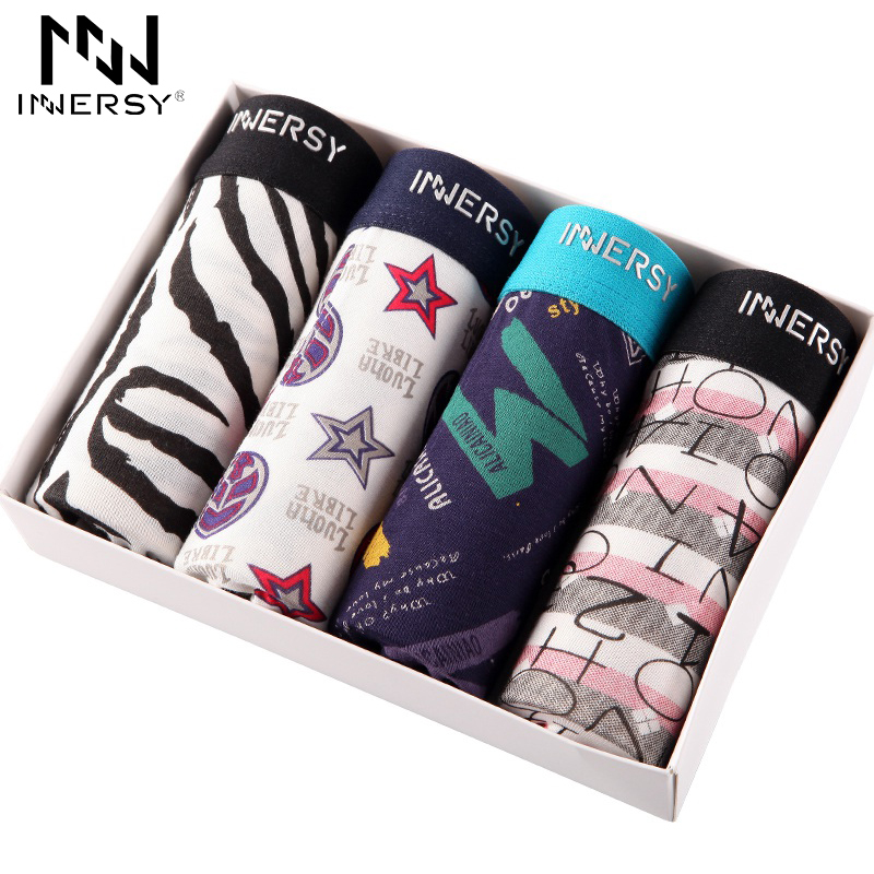 Buy Innersy 2017 Panties 4Pcslot Mens Colorful Underwear Boxers Modal Boxer Men Printed Boxer Shorts Boxers Mens Underwear lot