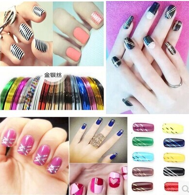 1pc Nail stickers Nail decorations Nail DIY jewelry gold and silver jewelry in combination with adhesive nail 11