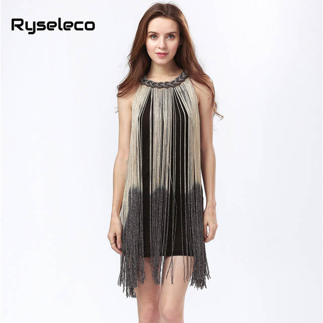 15399397673ee Lady Tank Ombre Draping Costume Metal Chain Neck Gradient Tassel Dresses  Women Clothing 1920s Flapper Swing Fringe Mini Vestido