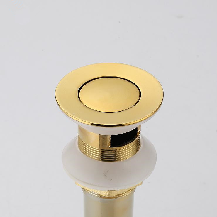 Drains Golden Brass Bathroom Basin Sink Vanity Push Down Drain Stopper With or Without Overflow Hole Faucet Accessories