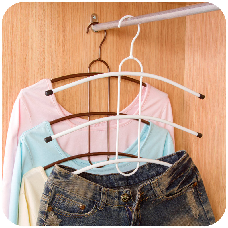 Iron Hangerlink Organize Closet Non Slip 3/4Layers Hanger Pants Scarf Hangers Holders Trousers Towels Clothes Hangers