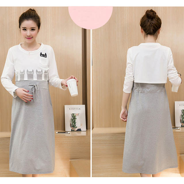 9aadd3f7697 placeholder Korean Long Maternity Nursing Dresses Clothes Pregnancy Nurse Wear  Clothing Cotton Casual Breast Feeding Dress For