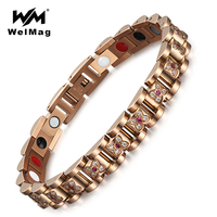 WelMag Magnetic Bracelet & Bangle for Women Stainless Steel Elegant Flower Crystal Bracelet Luxury Jewelry Healing bracelet