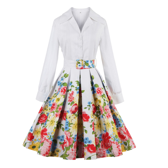 Women Spring Flower Fl Cotton White Dress Turn Down Collar Long Sleeves Belts Party Ball
