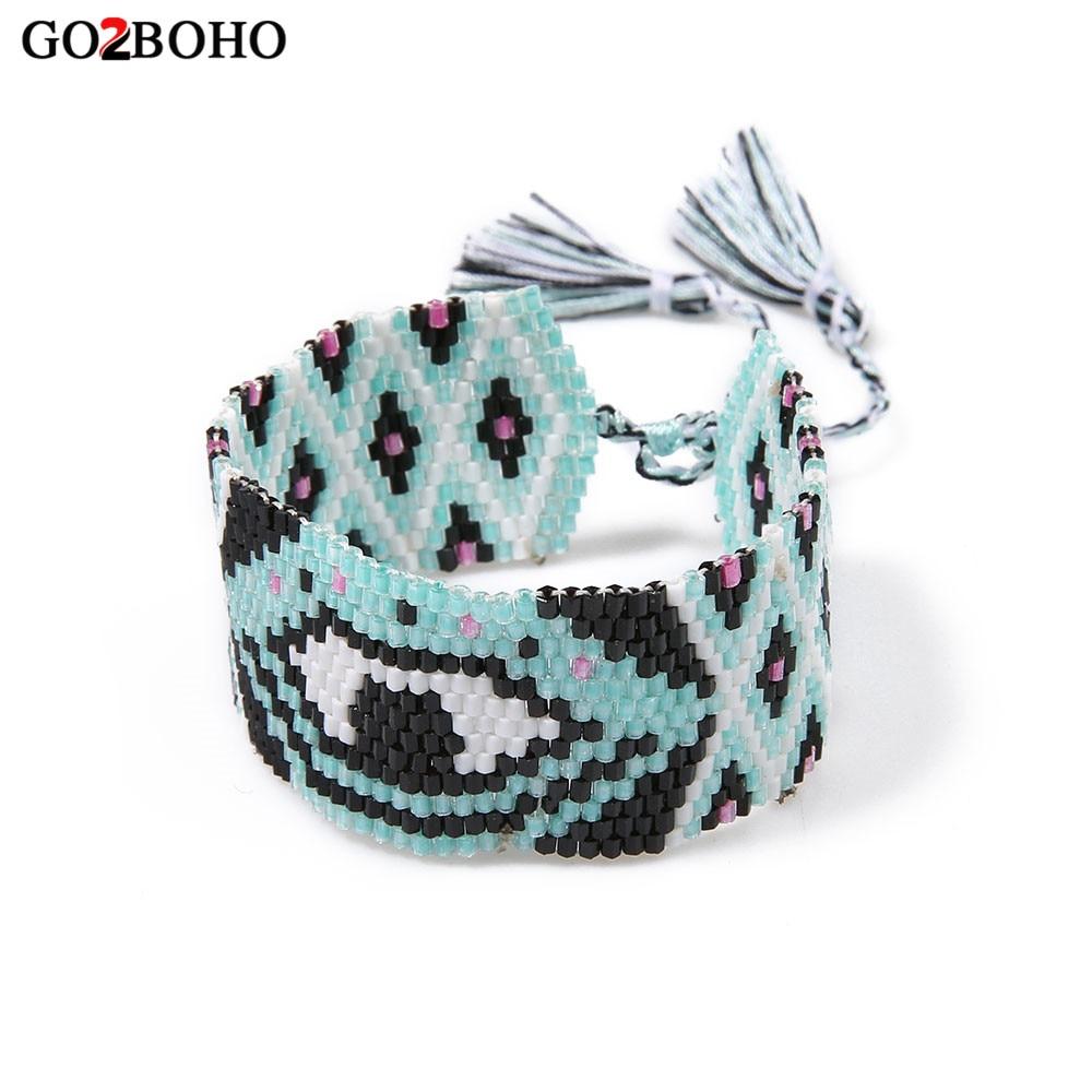 Go2boho Dropshipping Hot MIYUKI Bracelet Seed Beads Evil Eye Bracelets Handmade Weaving Tassel For Women Girl Best Gifts Jewelry mens bracelets 2018 evil eye ladies bracelets silver925