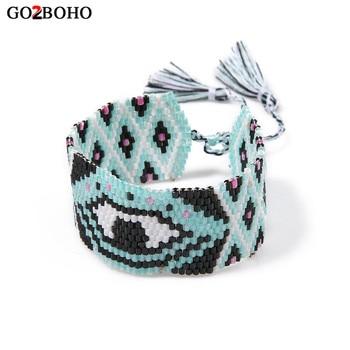 d310f3bfe81c Caliente MIYUKI pulsera brazalete de mal de ojo pulseras hecho a mano  tejido borla para mujeres chica mejores regalos de la joyería