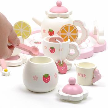 Children Tea Set | Wooden Strawberry Afternoon Tea Children's House Tea Set Playhouse Pink Sweet Strawberry Pretend Play Parent-child Games