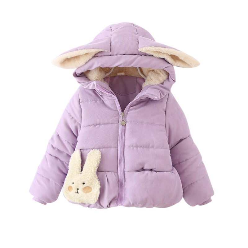 0-24M Toddler Baby Girl Kid Winter Warm Cotton Cute White Rabbit Hooded Coat Jacket Outwear with Ears Hood Yo