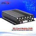 Auto Coche Móvil DVR 4CH Video/Audio Tarjeta SD Mdvr H.264 Detección de Movimiento Grabación del Ciclo de Entrada Mando a distancia IR Encrption