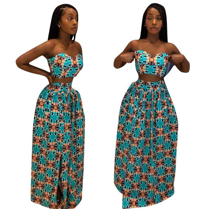 2019 Dashiki  African Women's Wear New Summer Bohemia Paisley-pattern Strapless High-slit Dress Suit Beach 2 Suit Club Sport Sui