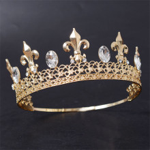 Adjustable Magnificent Vintage Men Gold Crown For Wedding Prom Kings Headdress Tiaras and Crowns Hair Jewelry